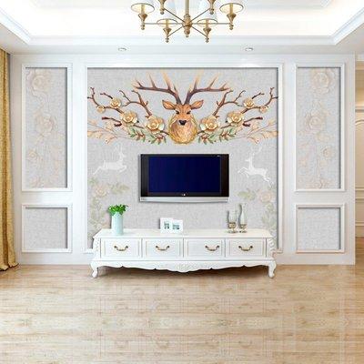佩奇壁纸8d北歐電視背景墻壁紙花鹿客廳臥室墻布歐式裝飾壁畫美式無縫墻紙小猪佩奇
