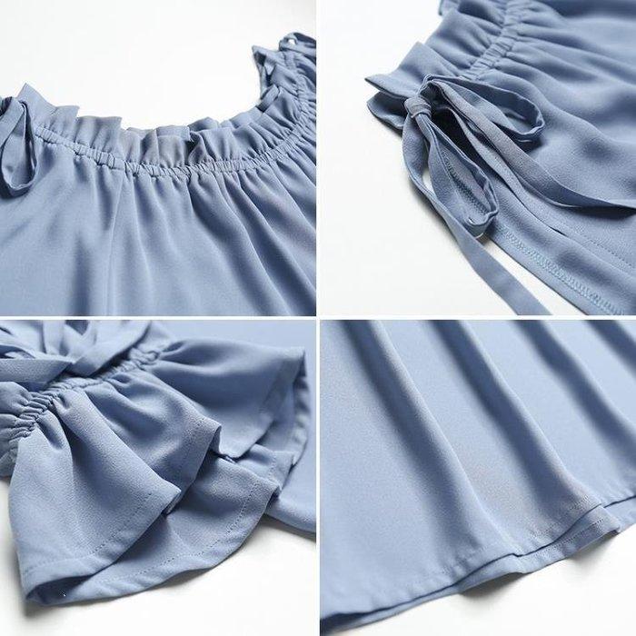 YEAHSHOP 雪紡衫女春季2018新款韓版寬鬆喇叭短袖一字領露肩仙氣上衣Y185