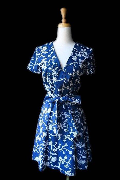 *Beauty*alice+olivia牛仔藍色刺繡短袖洋裝2號13800   元WE17