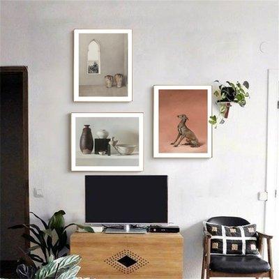 北歐現代建築瓷器棕色的狗臥室裝飾畫芯高清微噴打印畫