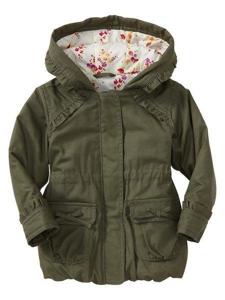 ☆Elf Baby☆ Gap 新款 春天長袖荷葉邊綠色蝴蝶結帆布皺褶大衣 和風花卉印花襯裡連帽外套出清特賣!