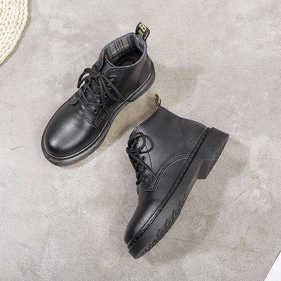 娃娃鞋牛津鞋休閒鞋 馬丁靴女2020新款夏季薄款百搭復古英倫風黑色靴學生短筒平底短靴