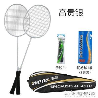 羽毛球拍雙拍碳素纖維超輕進攻型初學耐打訓練專用男女2支裝WD