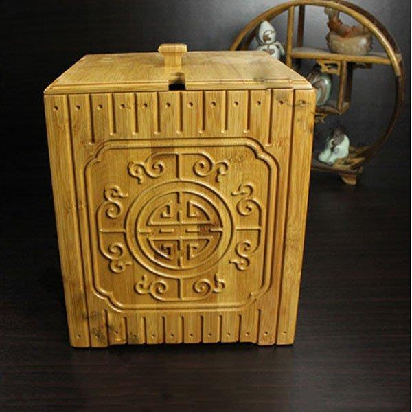 5Cgo【茗道】含稅會員有優惠 38741240615 竹制茶水桶 茶渣桶 茶盤排水桶茶桶 茶葉排水桶 垃圾桶木製方形