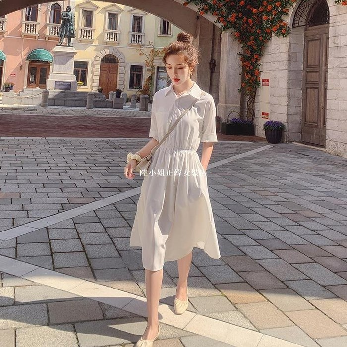 陸小姐正韓女裝店法式甜美襯衫連身裙2020新款女裝夏季中長款收腰顯瘦初戀裙子洋裝超仙