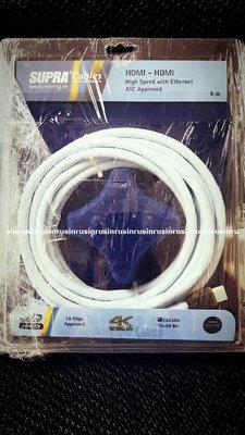 【興如】Supra 瑞典原裝 2.0版 HDMI線 6米 24K 鍍金銅 高對比 可支援4K 訊號 來店保證超低價