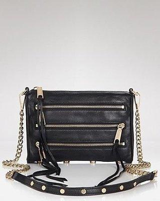 美國名牌Rebecca Minkoff Mini 5 zip專櫃款黑色金鍊拉鍊流蘇肩斜背包現貨在美特價$5680含郵
