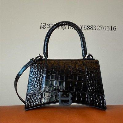 二手正品 Balenciaga 巴黎世家 Hourglass XS 鱷魚紋 手提包 肩背包 沙漏包