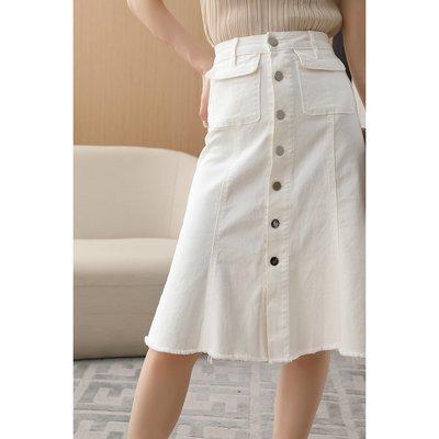 PD 高腰包臀單排扣 夏季薄款牛仔裙 A字裙
