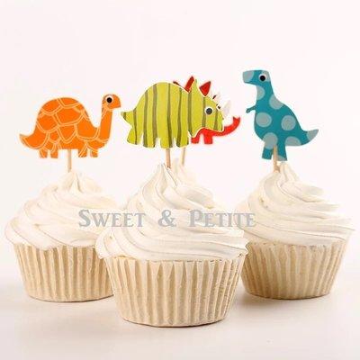 PR360❤小小恐龍蛋糕紙插牌❤4P 小男孩派對慶祝佈置道具 杯子蛋糕竹籤裝飾品 candy bar