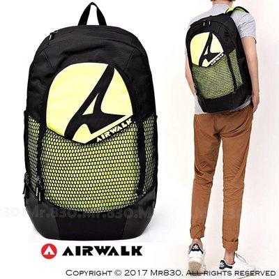 『Mr830』AirWalk酷炫螢光綠街頭個性運動風格網袋大後背包/書包/防潑水