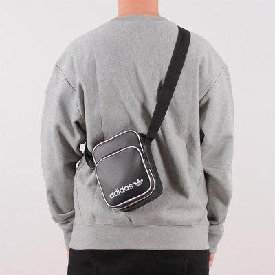 =E.P=ADIDAS ORIGINALS 愛迪達 黑色 黑白 復古 小包 腰包 霹靂包 側背包 DH1006
