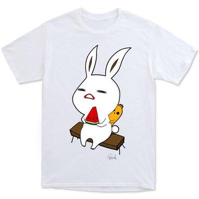 東京TOKIS原創F30吃西瓜的兔子和黃色小雞現貨臺灣插畫家Tee情侶裝童裝團購班服春夏優質短袖棉T恤動物毛小孩