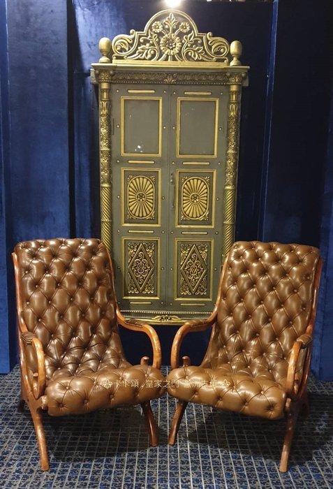 ⚜️ 皇家之門. 歐洲古董 ⚜️ITALY老件~ 細膩 深蘊 Chesterfield 真皮 拉扣  休閒沙發 皮沙發