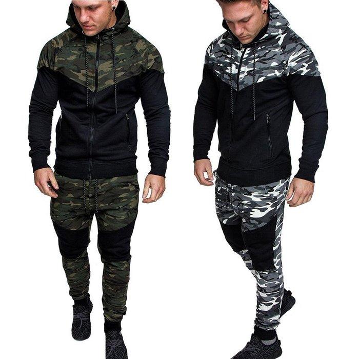 『潮范』 S6 新款經典迷彩拼塊男式修身休閒運動套裝 夾克 休閒長褲 棉質連帽外套NRG1201