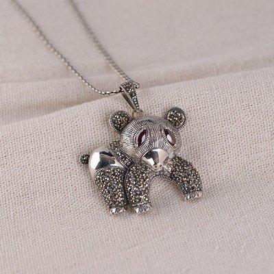 加恩 S925銀復古項飾 女款時尚小熊吊墜 鑲嵌馬克賽石配飾yly676