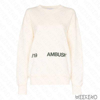 【WEEKEND】 AMBUSH 文字 寬鬆 衛衣 大學T 可當短洋 白色 19秋冬