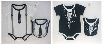 翔翔童衣舖[貨號:3050嬰幼兒男寶~夏裝-假吊帶領.西裝領造型哈衣/包屁衣