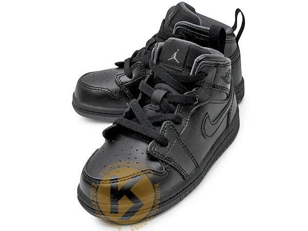 NIKE JORDAN 1 RETRO MID TD BT 幼童鞋 BABY 鞋 全黑 黑灰 AJ 640735-021