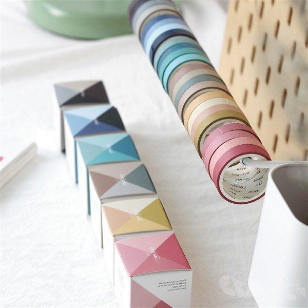 手帳裝飾必備紙膠帶│顏色的派對窄版紙膠帶/6款選@每款4捲寬9mm長3米
