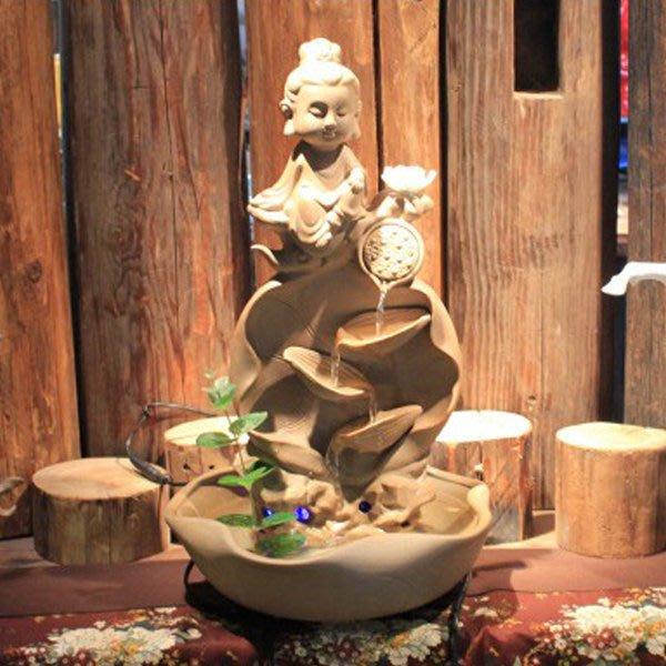 5Cgo【宅神】含稅會員有優惠 41937026046 家居裝飾品開業禮品紫砂陶瓷佛像流水噴泉加濕器招財客廳風水擺件