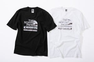 2bb06acb58c2 (TORRENT) SUPREME X THE NORTH FACE METALLIC LOGO TEE 黑.白.短