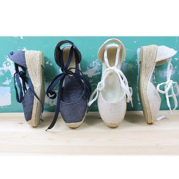 5Cgo【鴿樓】會員有優惠44046623245 韓版漁夫鞋帆布鞋中空涼鞋女坡跟高跟女鞋系帶包頭麻布鞋 綁帶鞋