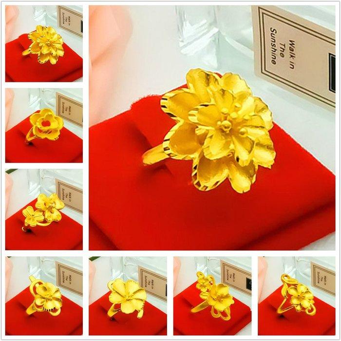 乾一鍍金戒指女士款久不掉色越南沙金仿真999百搭開口花朵鍍黃金色24k