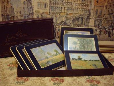 歐洲古物時尚雜貨  英國 風景杯墊 擺飾品 藝術珍藏 6件一組