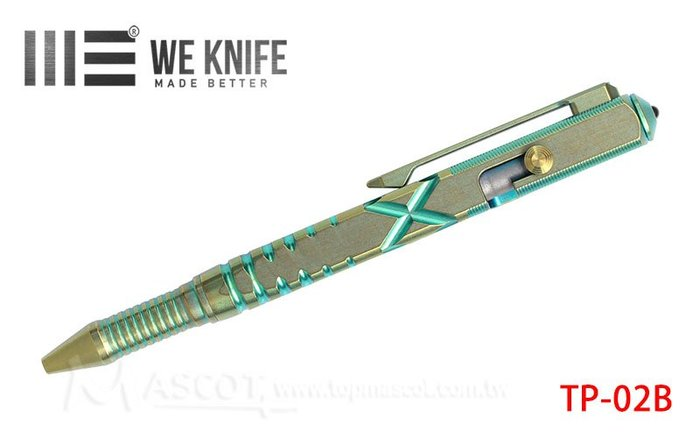 【angel 精品館 】We Knife TI MATERIAL COLOR PEN 黃綠鈦 戰術筆 02B
