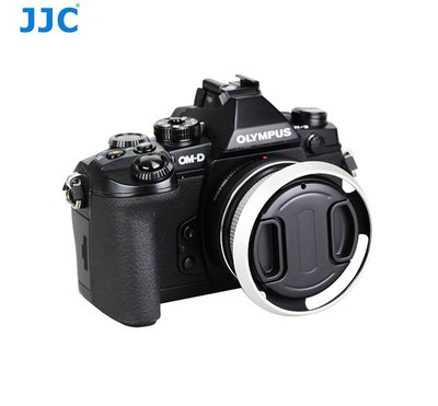 JJC自動蓋遮光罩Olympus MZD 14-42mm f3.5-5.6 EZ第四代LC-37C自動鏡頭蓋+遮光罩