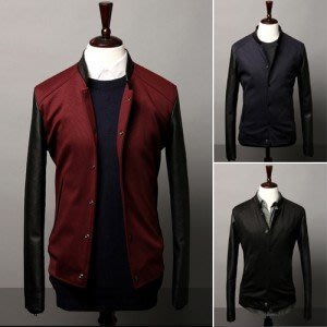 yes99buy加盟-2014男式最新時尚韓味個性袖子拼皮撞色羅紋下擺休閒夾克 外套