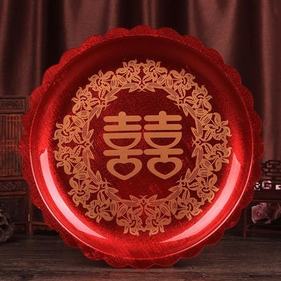 結婚慶用品喜酒托盤敬茶具婚禮果盤喜糖盤壓克力喜煙盤大紅色鐵盤 IGO
