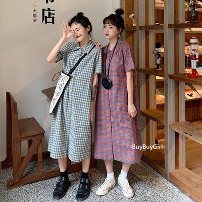 學院少女連身裙 💎 青春無敵格紋襯衫長洋裝/2色