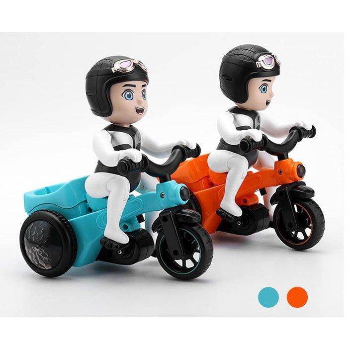 抖音同款電動七彩旋轉三輪車 燈光萬向翻斗會騎車兒童卡通特技三輪車 兒童玩具禮品 搞笑交換禮物