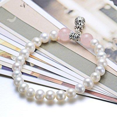 珍珠 手 鍊 粉水晶手環-6.5-7mm泰銀福袋生日母親節禮物女飾品73qn43[獨家進口][巴黎精品]