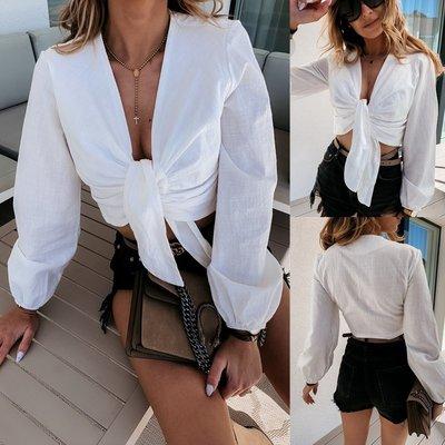 寶島小甜甜~2021V neck short bodice sexy lace-up blouse women shirt tops