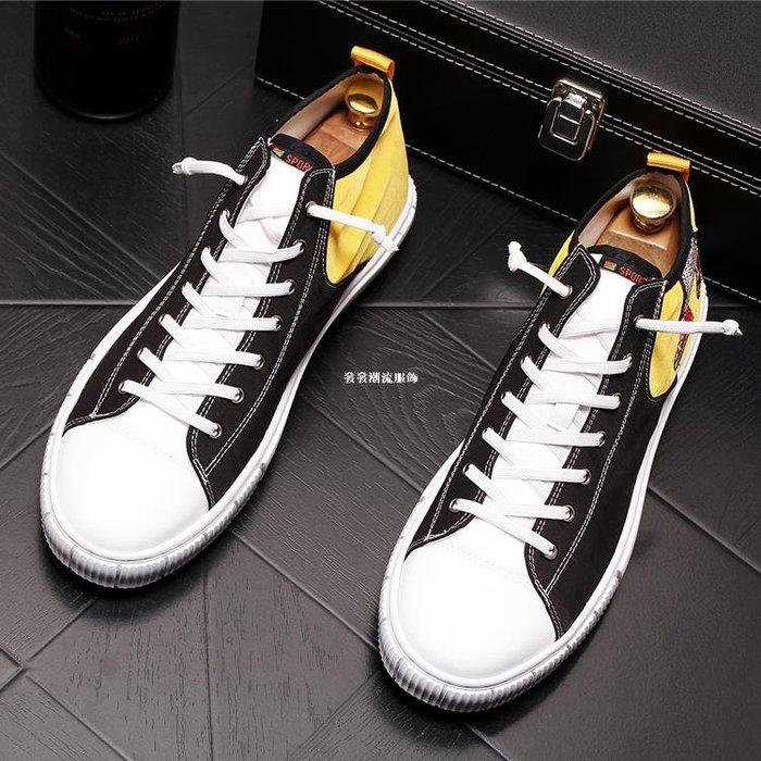 發發潮流服飾歐洲站高幫板鞋時尚潮男休閒鞋男士正韓板鞋百搭透氣青年帆布鞋子