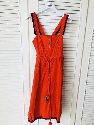SONIA RYKIEL 紅色黑蕾絲純棉背心裙