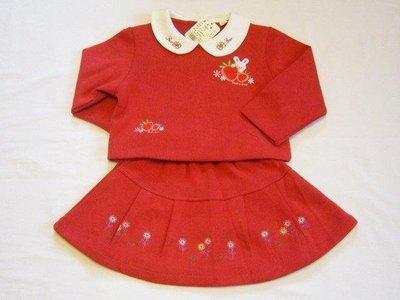 台製 女中小童 1021 紅色 草莓圖案 上衣裙子套裝~~適100~120CM穿~~歡迎切貨