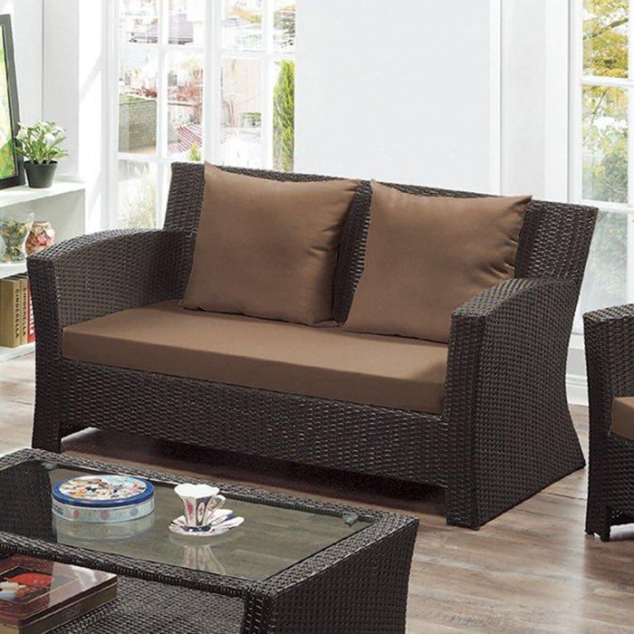 【在地人傢俱】19 樂樂購-編織咖啡色墊2人/二人/雙人籐椅/藤沙發椅 JL96-5