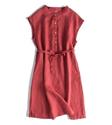 日本原單~法國亞麻繫帶中長款連身裙 5色 1186   首爾戀人