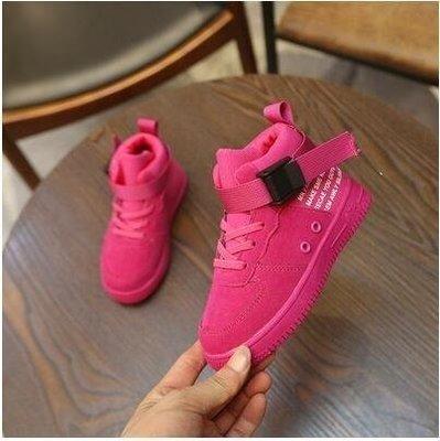 ZIHOPE 女童靴子秋冬新款男童鞋休閒運動鞋加絨寶寶短靴馬丁靴兒童鞋ZI812