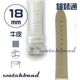 【鐘錶通】C1.81AA《霧面系列》鱷魚格紋-18mm 霧面白(手拉錶耳)┝手錶錶帶/皮帶/牛皮錶帶┥