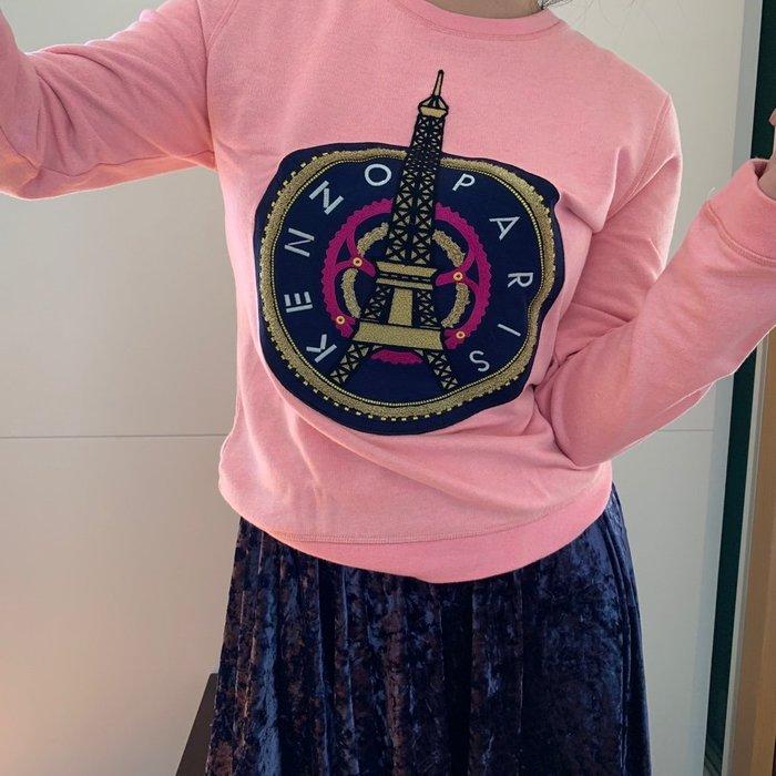 二手 Kenzo 粉色艾菲爾鐵塔 長袖踢恤 巴黎鐵塔 女M 衛衣