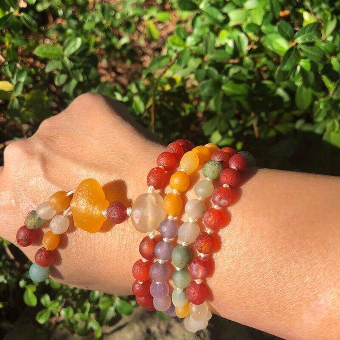 [馬克與安]七彩粉圓戀 (項鍊)-108顆戈壁瑪瑙彩珠原石 (其中紫色為印尼葡萄瑪瑙)