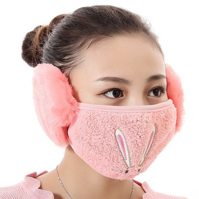 【愛莉絲現貨精品】【買三送一】冬季必備保暖卡通造型兔兔絨毛防塵口罩耳罩二合一(編號13/西瓜紅) 現貨