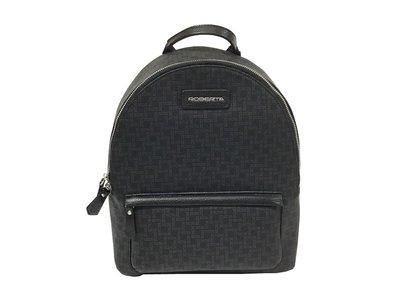 【菲歐娜】7438-(特價拍品)ROBERTA牛皮配乳膠皮後背包(黑) RM-8908