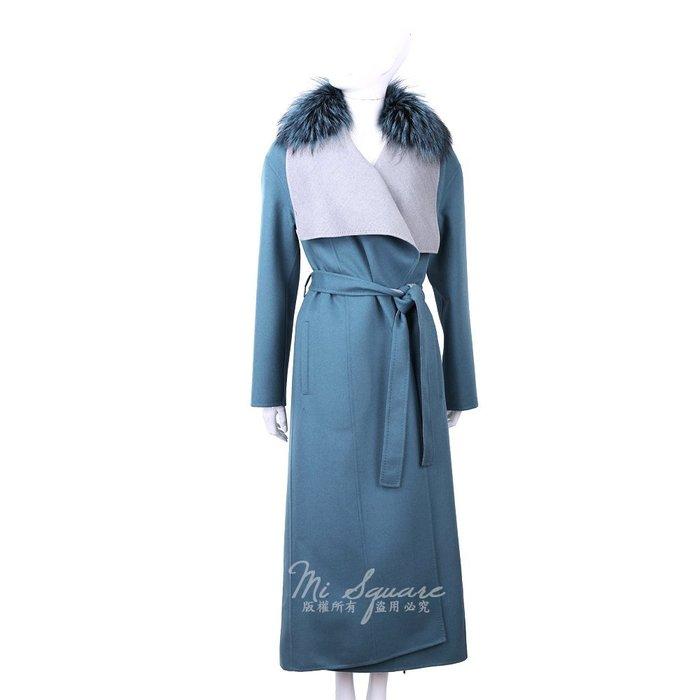 米蘭廣場 Manzoni 24 喀什米爾皮草領藏藍色綁帶手工羊絨大衣 1810050-16