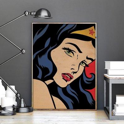 X|設|計 pop art復古波普藝術神力女超人wonder woman美式 風格電影人物版畫家居 裝飾畫可定制